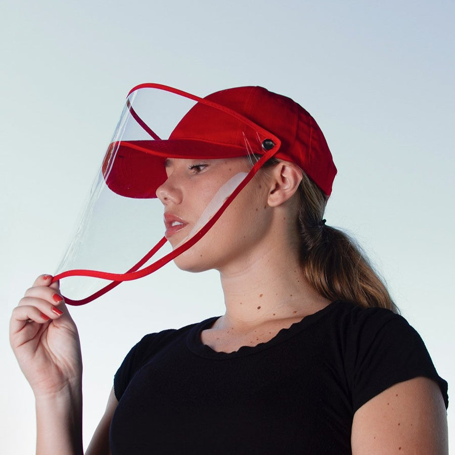 Red Baseball Cap Face Shield - FINAL SALE