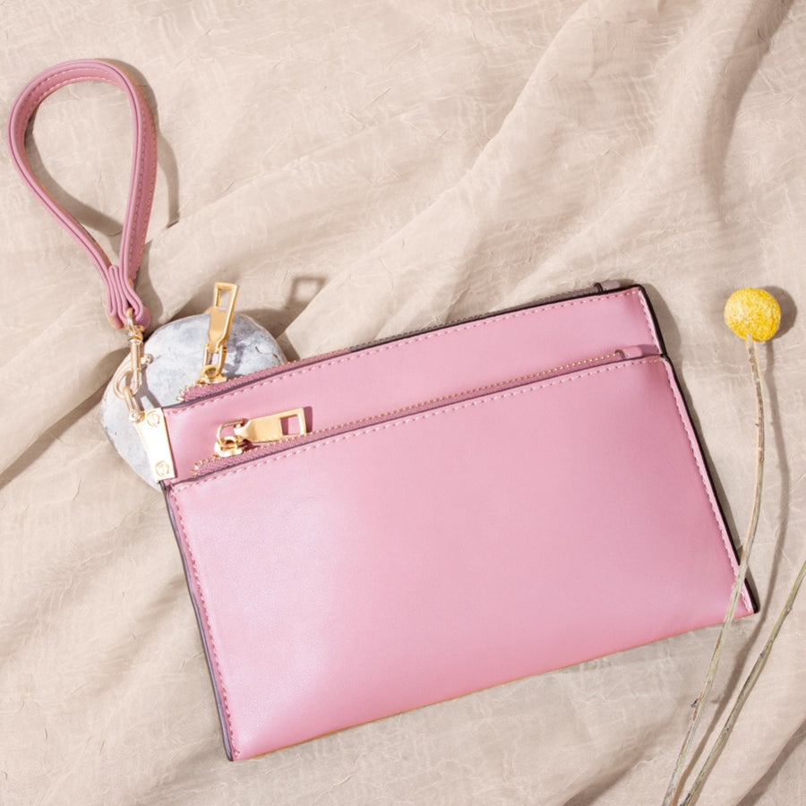 Melie Bianco Bobbie Luxury Vegan Leather Crossbody Wristlet in Rose