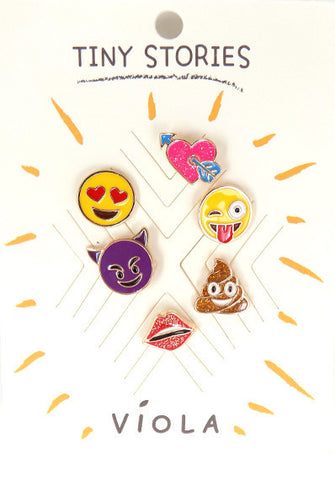 Emoji Metal Pin Set