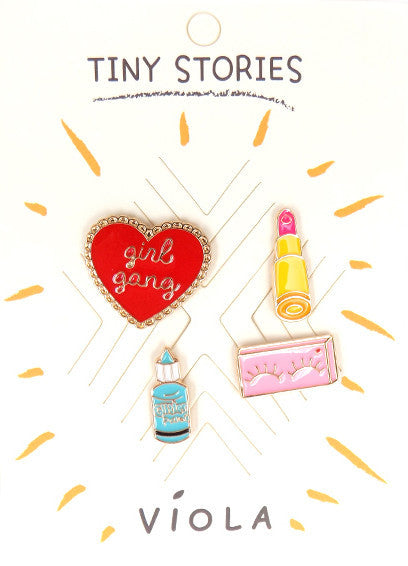 Girl Gang Metal Pin Set - Melie Bianco