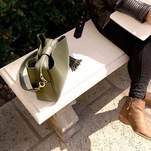 Melie Bianco Genevieve Luxury Vegan Leather Shoulder Bag in Olive
