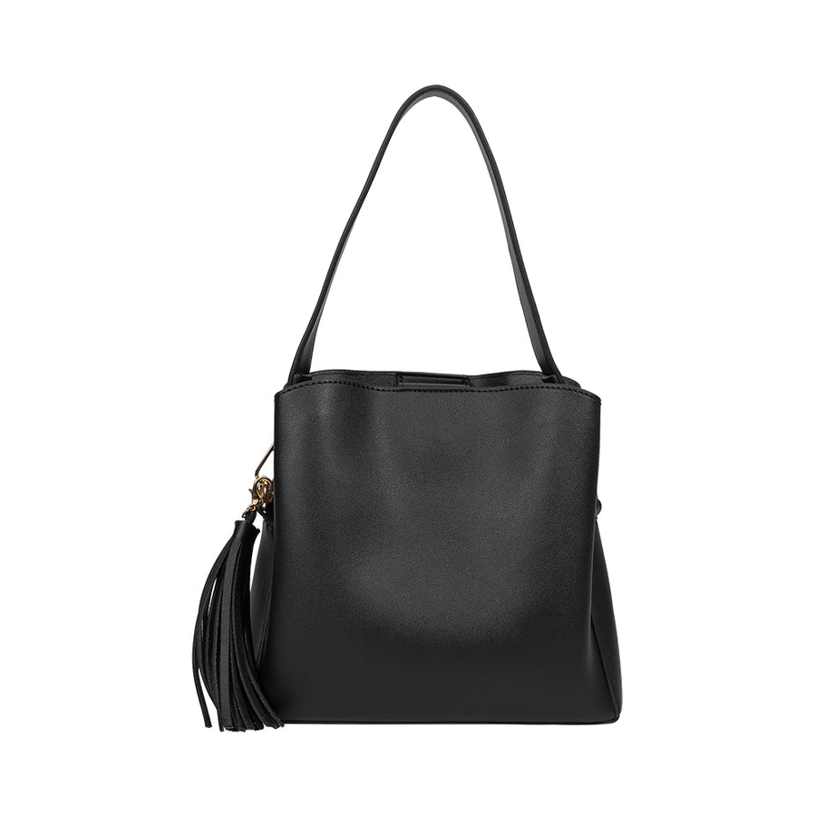 Melie Bianco Genevieve Luxury Vegan Leather Shoulder Bag in Black (4177013145651)