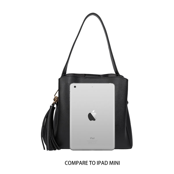 Melie Bianco Genevieve Luxury Vegan Leather Shoulder Bag in Black