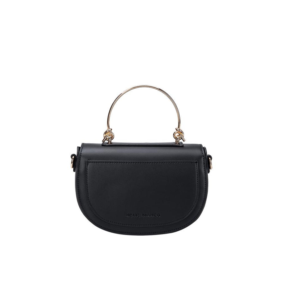 Melie Bianco Luxury Vegan Leather Isabel Top Handle Bag in Black