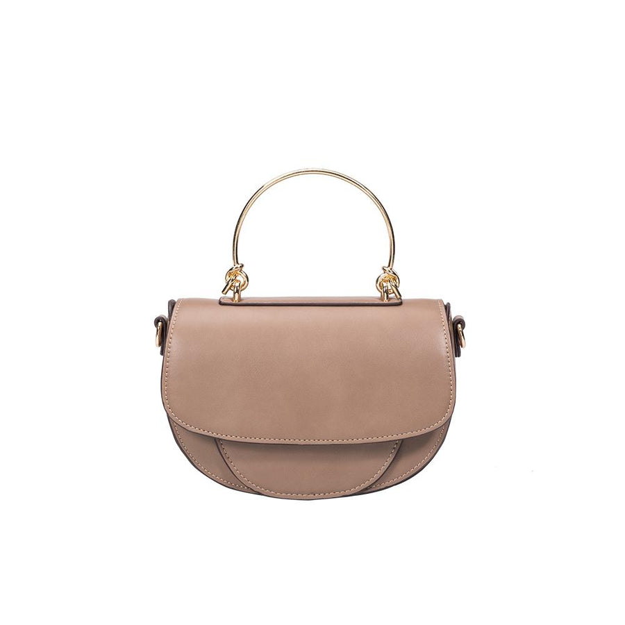 Melie Bianco Luxury Vegan Leather Isabel Top Handle Bag in Taupe
