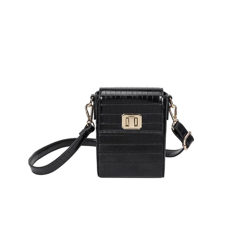 Melie Bianco Luxury Vegan Leather Carly Crossbody Bag in Black