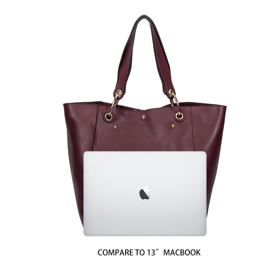 Melie Bianco Skylar Luxury Vegan Leather Tote in Merlot