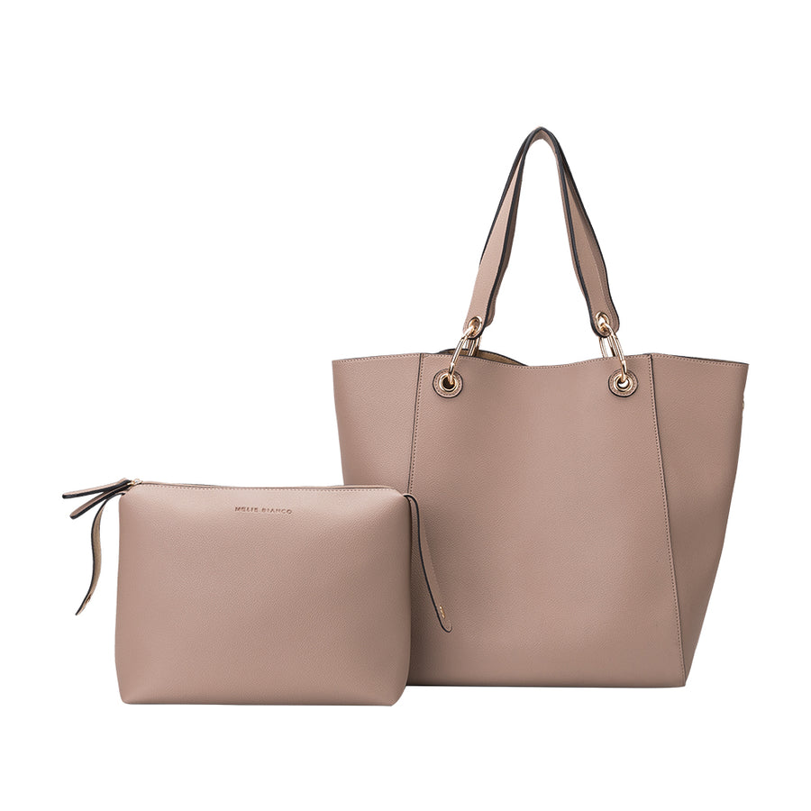 Melie Bianco Skylar Luxury Vegan Leather Tote in Taupe (4177121345587)
