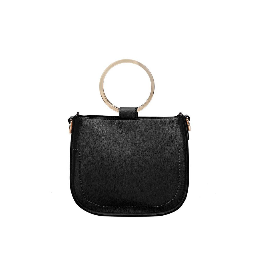 Melie Bianco Luxury Vegan Leather Terry Top Handle Bag in Black