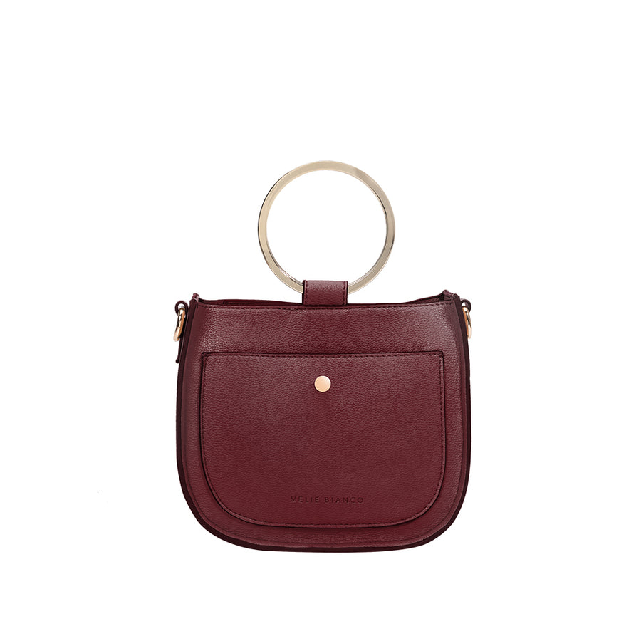 Melie Bianco Luxury Vegan Leather Terry Top Handle Bag in Merlot