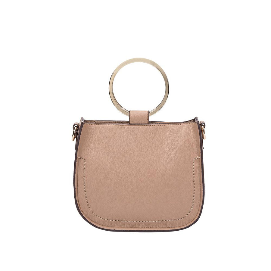 Melie Bianco Luxury Vegan Leather Terry Top Handle Bag in Taupe