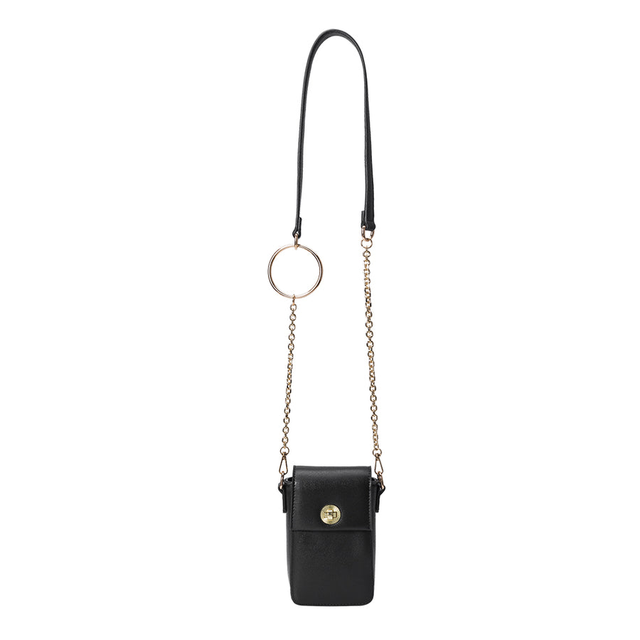 Melie Bianco Luxury Vegan Leather Riki Crossbody Bag in Black