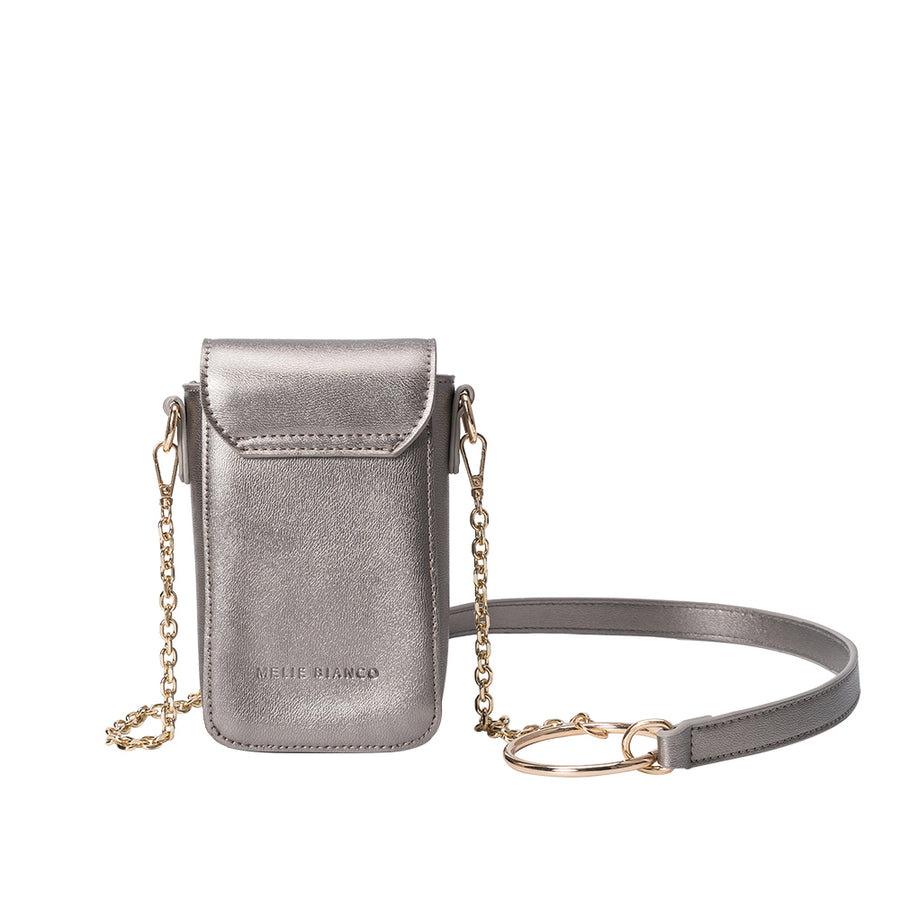 Melie Bianco Luxury Vegan Leather Riki Crossbody Bag in Pewter