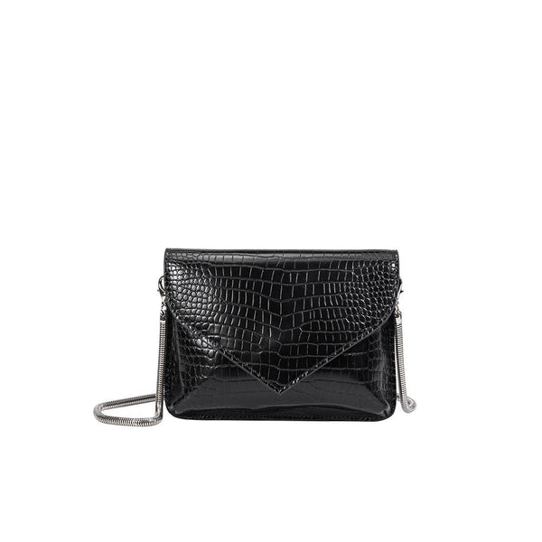 Melie Bianco Anna Luxury Vegan Crocodile Leather Crossbody in Black