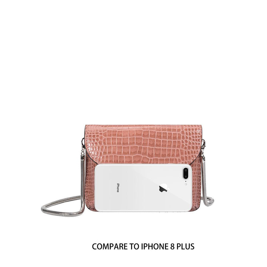 Melie Bianco Luxury Vegan Leather Anna Crossbody Bag in Blush