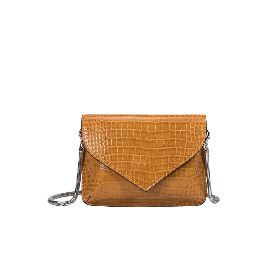 Melie Bianco Anna Luxury Vegan Crocodile Leather Crossbody in Mustard