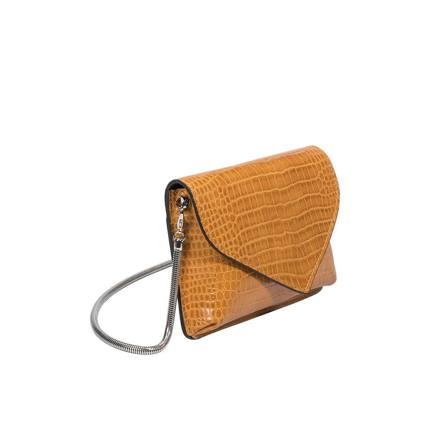 Melie Bianco Luxury Vegan Leather Anna Crossbody Bag in Mustard