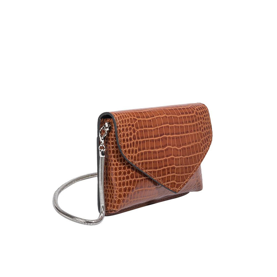 Melie Bianco Anna Luxury Vegan Crocodile Leather Crossbody in Saddle