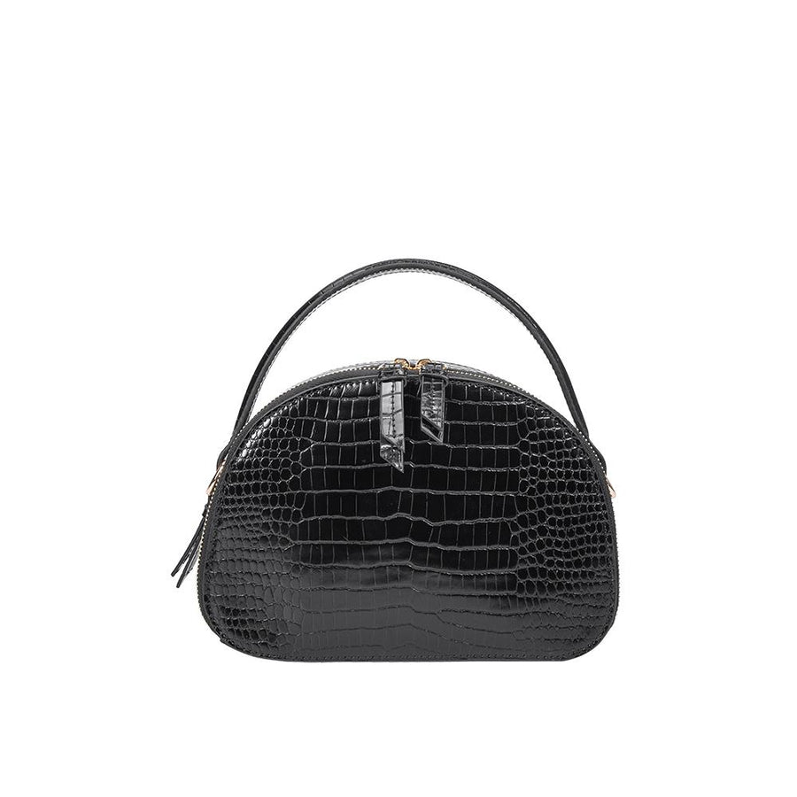 Melie Bianco Calvin Luxury Vegan Crocodile Leather Top Handle in Black