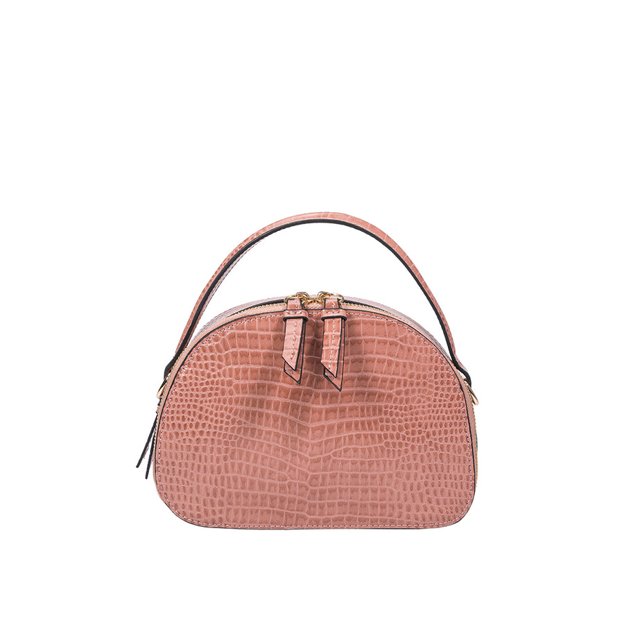 Melie Bianco Calvin Luxury Vegan Crocodile Leather Top Handle in Blush