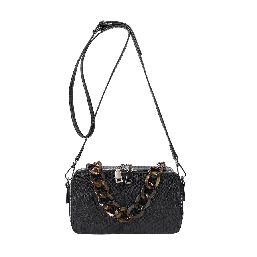 Melie Bianco Luxury Vegan Leather Demi Top Handle Bag in Black