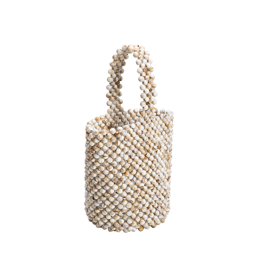 Melie Bianco Seychelles Cream Vegan Beaded Top Handle Bag
