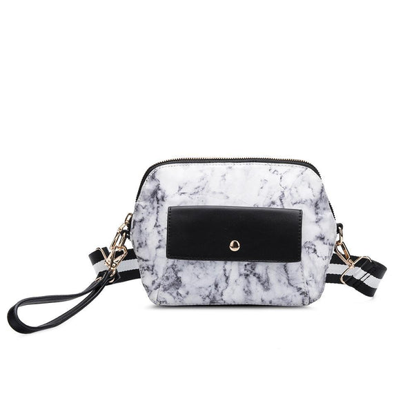 vegan, cruelty free, handbag, bag, purse, faux leather, animal friendly, sustainable fashion, crossbody, small, mini, gold hardware, travel, wristlet, convertible, belt bag, black, white, marble