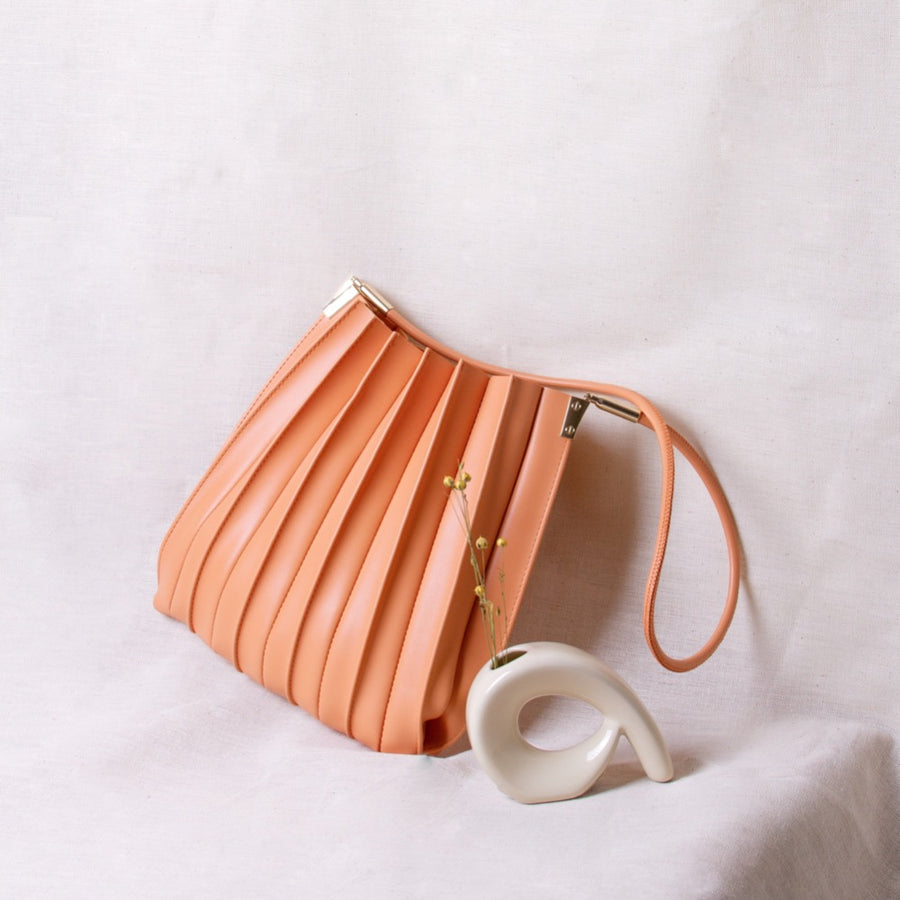 Melie Bianco Carrie Pleated Luxury Vegan Leather Shoulder Bag in Peach