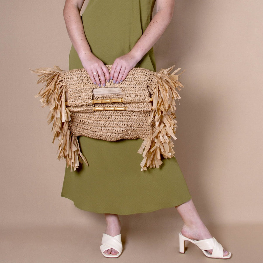 Melie Bianco Casey Eco Friendly Large Straw Tote Bag in Natural