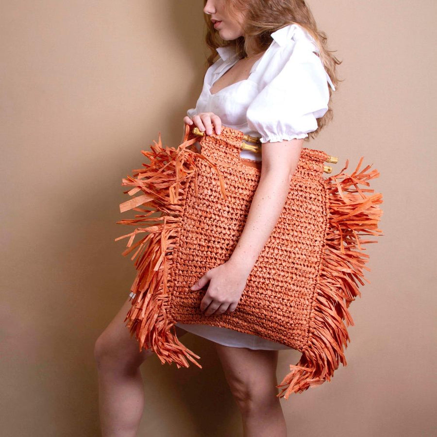 Melie Bianco Casey Eco Friendly Large Straw Tote Bag in Rust