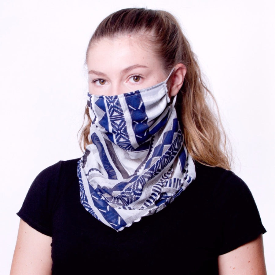 Chiffon Scarf Face Mask White/Black/Navy - FINAL SALE