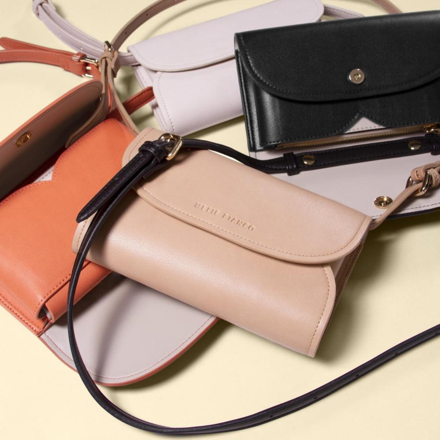Melie Bianco Luxury Vegan Leather Cleo Small Convertible Belt Bag in Bone, Peach, Nude, and Black