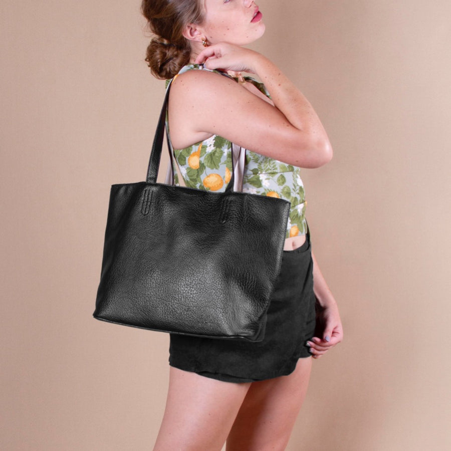 Melie Bianco Denise Large Reversible Luxury Vegan Leather Tote Bag in Black