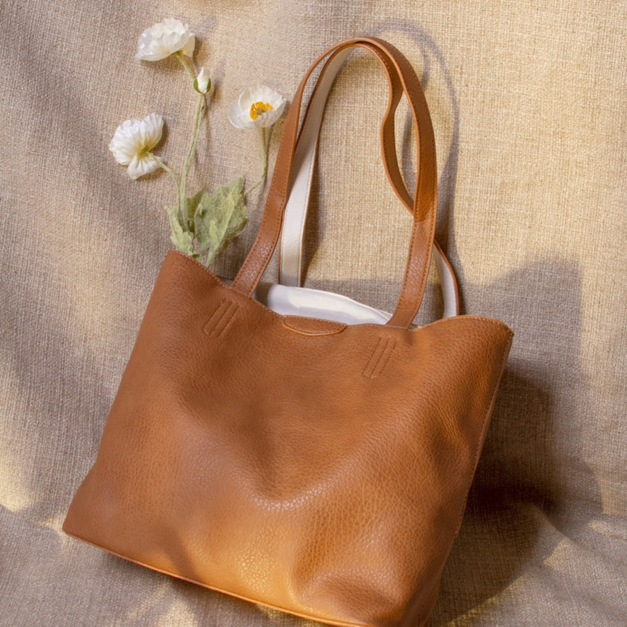 Melie Bianco Luxury Vegan Leather Denise Large Tote Bag in Tan