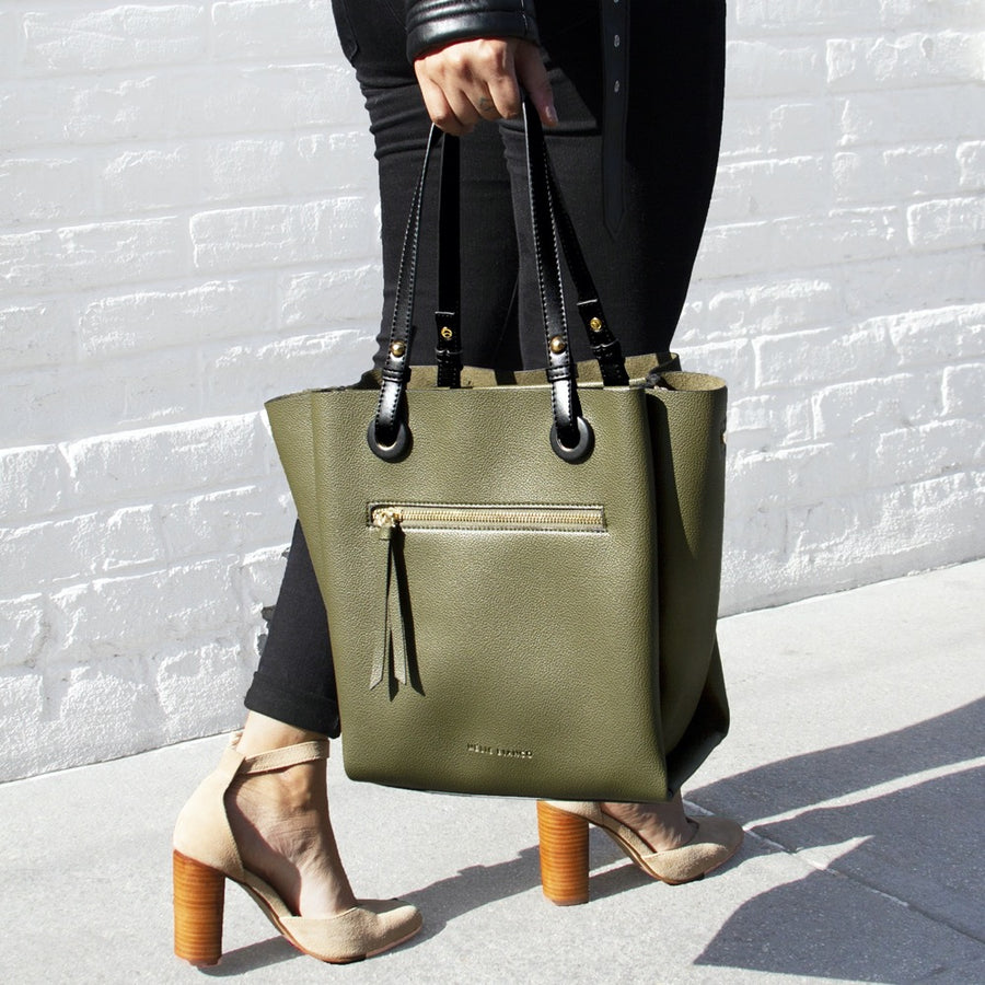 Melie Bianco Luxury Vegan Leather Devyn Tote Bag in Olive