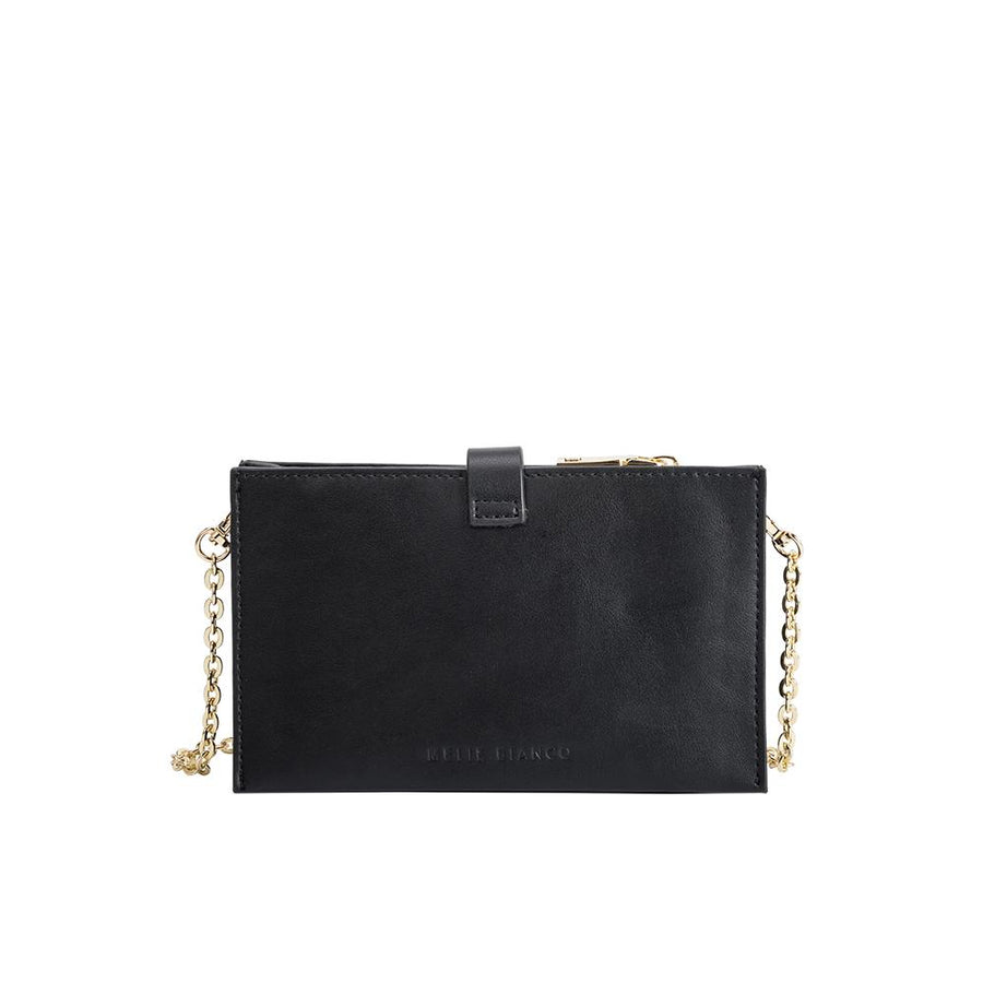 Melie Bianco Alicia Luxury Vegan Leather Crossbody Wristlet in Black