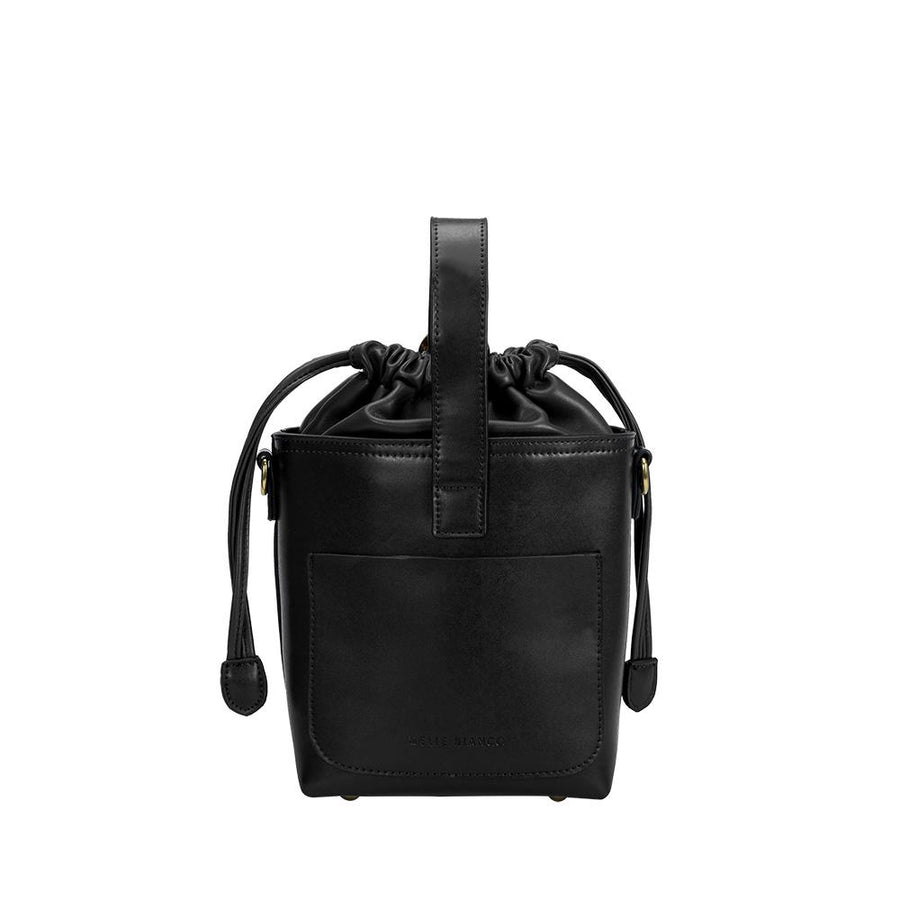 Melie Bianco Alexis Luxury Vegan Leather Crossbody Bucket Bag in Black