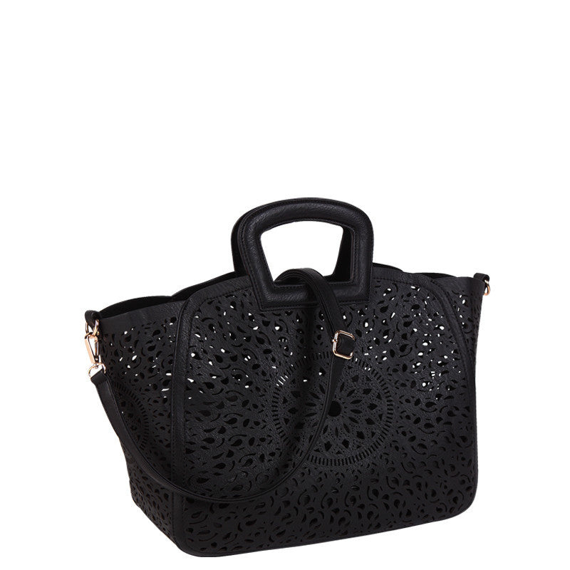 Nancy Laser Cut Out Tote - Melie Bianco - 2