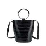 Stella Black Faux Croc Crossbody