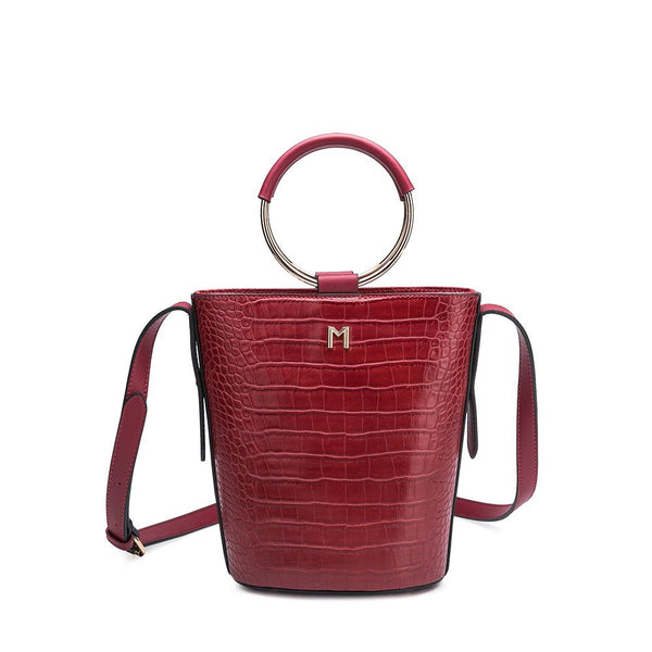 Melie Bianco Luxury Vegan Leather Stella Faux Croc Top Handle Crossbody Bag Purse in Wine