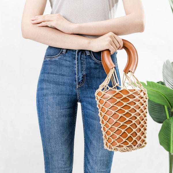 Abby Saddle Net Bucket Bag
