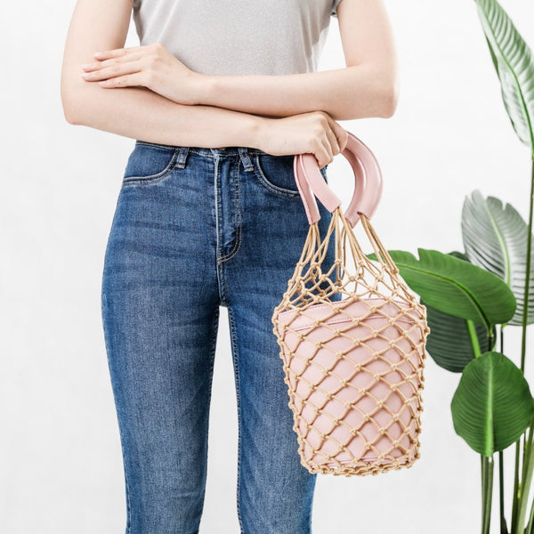 Abby Pink Net Bucket Bag