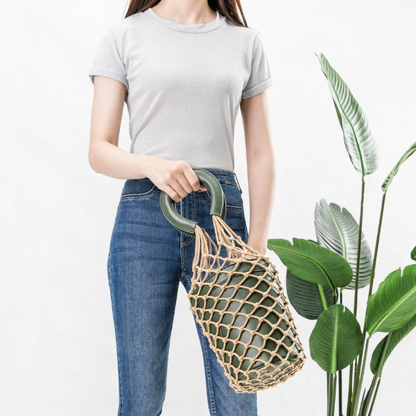 Abby Olive Net Bucket Bag - FINAL SALE
