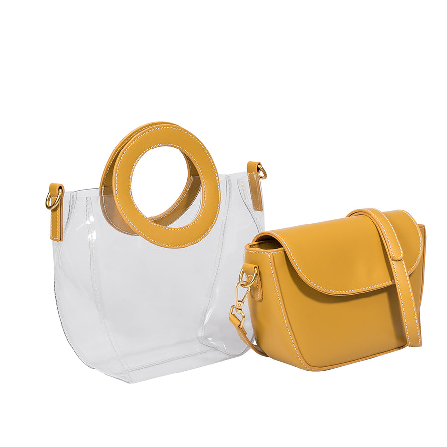 Melie Bianco Clarissa Yellow Luxury Vegan Leather Top Handle Bag