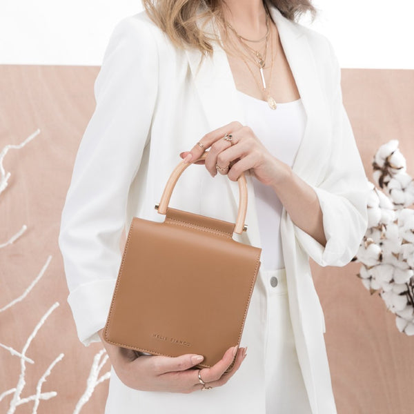 vegan, cruelty free, handbag, bag, purse, faux leather, animal friendly, sustainable fashion, crossbody, medium, wooden handle, small, tan, saddle, cognac, brown