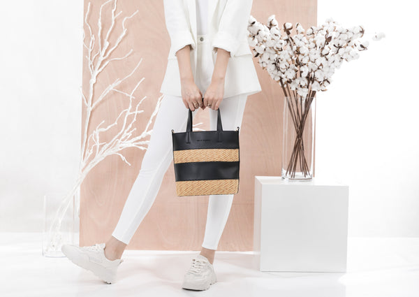 vegan, cruelty free, handbag, bag, purse, faux leather, animal friendly, sustainable fashion, shoulder bag, tote, rattan, woven, black, two tone, color block, beach, summer