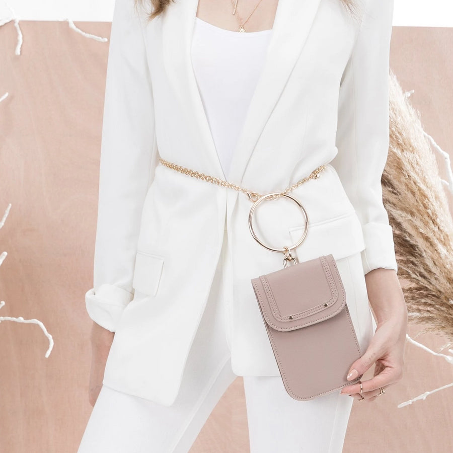 Melie Bianco Tess Luxury Vegan Leather Bracelet Handle Crossbody in Taupe