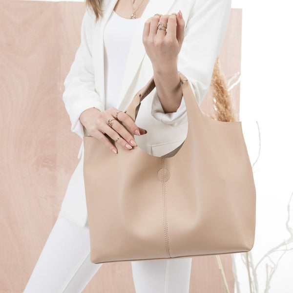 vegan, cruelty free, handbag, bag, purse, faux leather, shoulder, tote, large, nude, beige, tan, cream