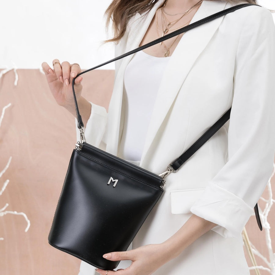 Melie Bianco Luxury Vegan Leather Tami Crossbody Bag in Black