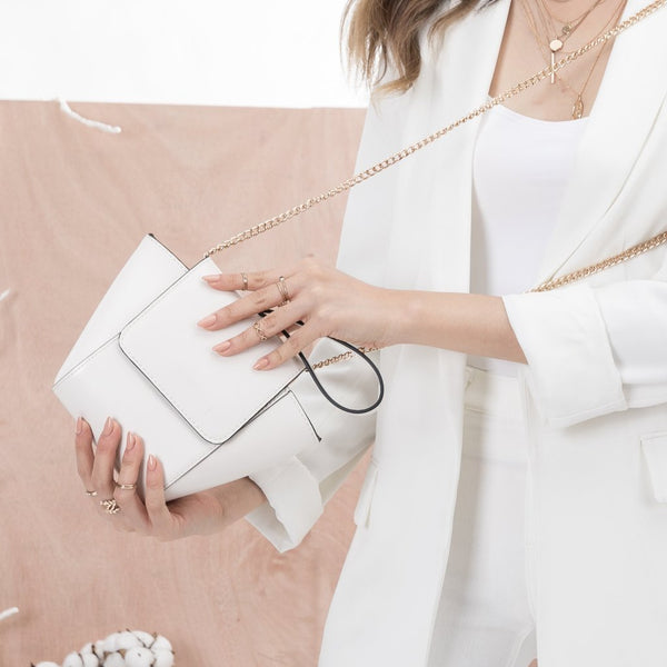 Adele White Crossbody